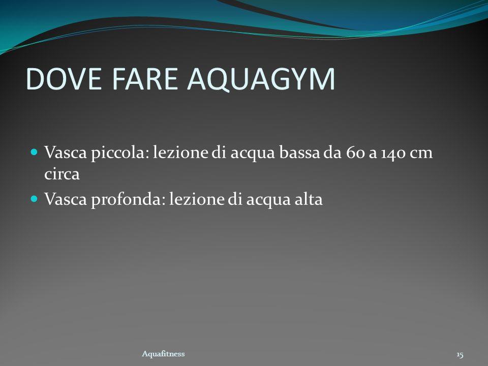Aquafitness15 DOVE FARE AQUAGYM Vasca piccola: lezione di acqua bassa da 60 a 140 cm circa Vasca profonda: lezione di acqua alta Aquafitness15