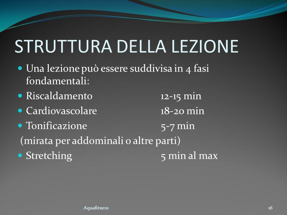 Aquafitness16 STRUTTURA DELLA LEZIONE Una lezione può essere suddivisa in 4 fasi fondamentali: Riscaldamento12-15 min Cardiovascolare18-20 min Tonific