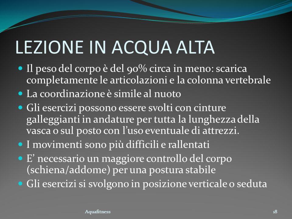 Aquafitness18 LEZIONE IN ACQUA ALTA Il peso del corpo è del 90% circa in meno: scarica completamente le articolazioni e la colonna vertebrale La coord