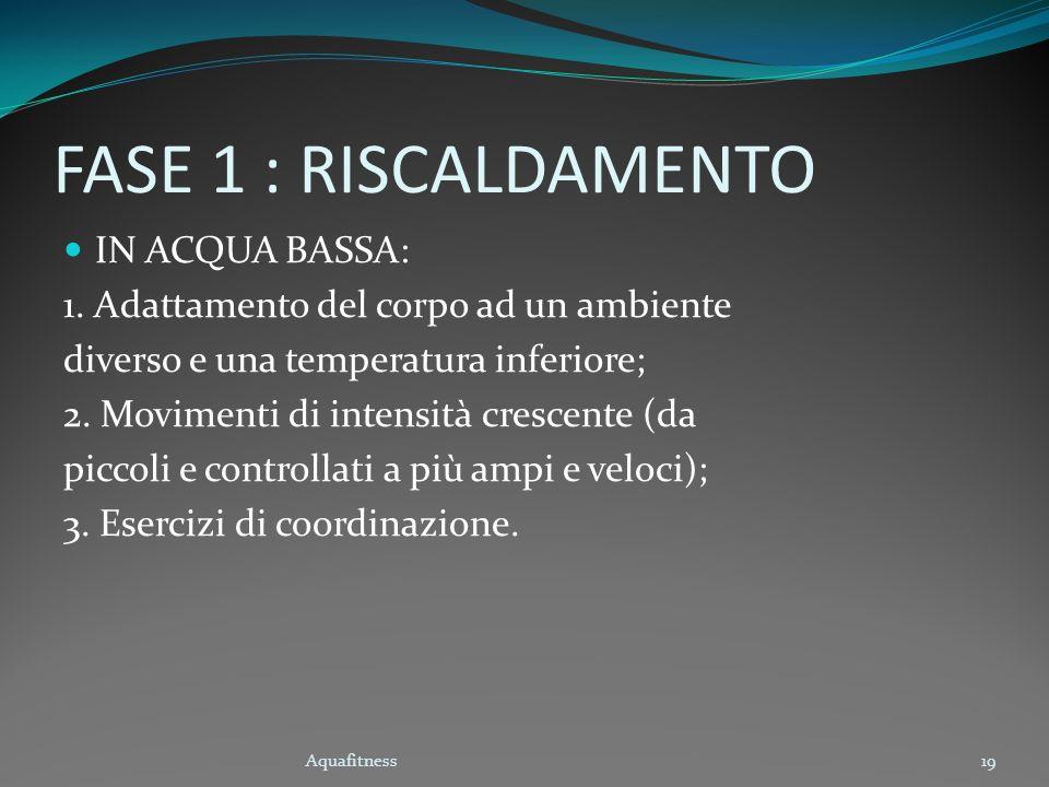 Aquafitness19 FASE 1 : RISCALDAMENTO IN ACQUA BASSA: 1. Adattamento del corpo ad un ambiente diverso e una temperatura inferiore; 2. Movimenti di inte