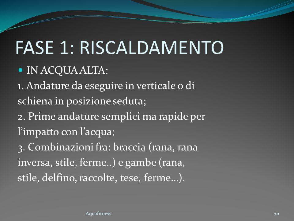 Aquafitness20 FASE 1: RISCALDAMENTO IN ACQUA ALTA: 1. Andature da eseguire in verticale o di schiena in posizione seduta; 2. Prime andature semplici m