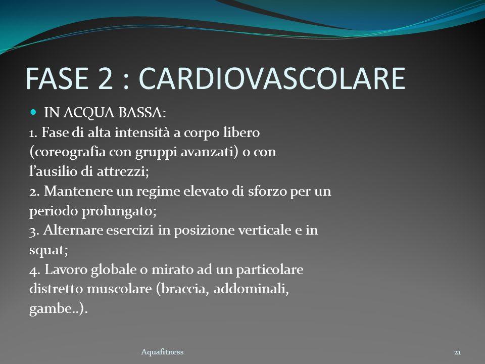 Aquafitness21 FASE 2 : CARDIOVASCOLARE IN ACQUA BASSA: 1. Fase di alta intensità a corpo libero (coreografia con gruppi avanzati) o con lausilio di at
