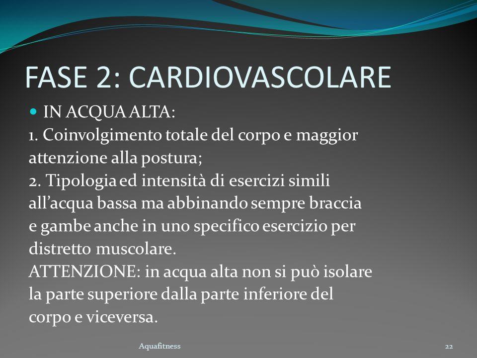 Aquafitness22 FASE 2: CARDIOVASCOLARE IN ACQUA ALTA: 1. Coinvolgimento totale del corpo e maggior attenzione alla postura; 2. Tipologia ed intensità d