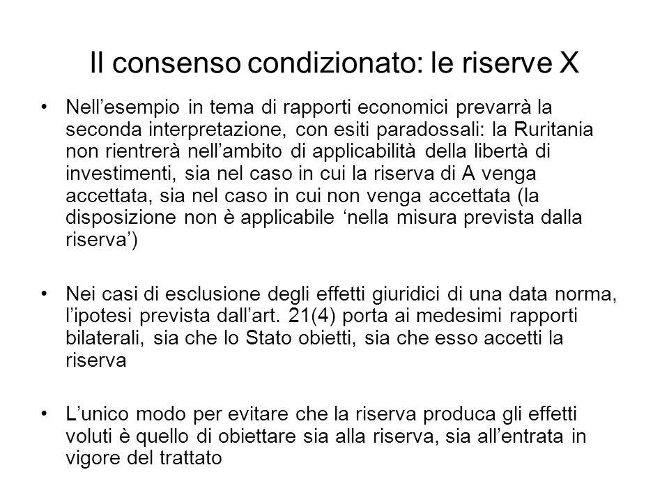 Il consenso condizionato: le riserve X Nellesempio in tema di rapporti economici prevarrà la seconda interpretazione, con esiti paradossali: la Rurita