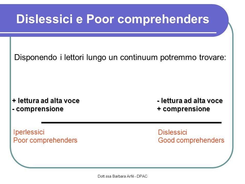 Dislessici e Poor comprehenders Dott.ssa Barbara Arfé - DPAC + lettura ad alta voce - comprensione - lettura ad alta voce + comprensione Iperlessici P