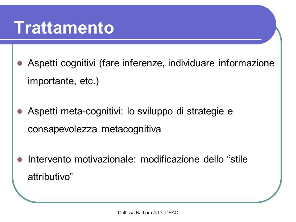 Trattamento Aspetti cognitivi (fare inferenze, individuare informazione importante, etc.) Aspetti meta-cognitivi: lo sviluppo di strategie e consapevo
