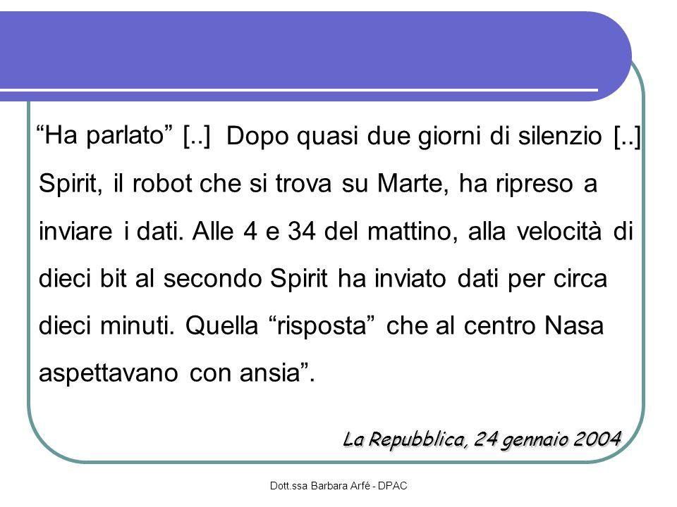 Dott.ssa Barbara Arfé - DPAC Spirit, il robot che si trova su Marte, ha ripreso a inviare i dati. Alle 4 e 34 del mattino, alla velocità di dieci bit