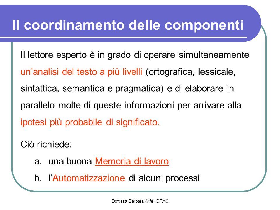 Il coordinamento delle componenti Dott.ssa Barbara Arfé - DPAC Il lettore esperto è in grado di operare simultaneamente unanalisi del testo a più live