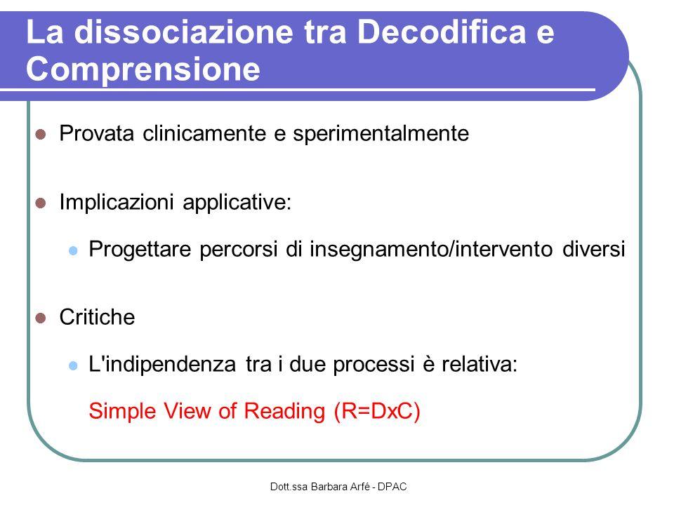 La dissociazione tra Decodifica e Comprensione Provata clinicamente e sperimentalmente Implicazioni applicative: Progettare percorsi di insegnamento/i