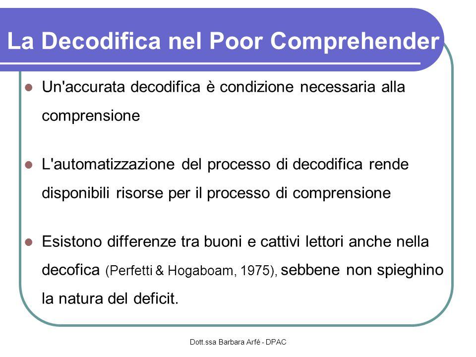 La Decodifica nel Poor Comprehender Un'accurata decodifica è condizione necessaria alla comprensione L'automatizzazione del processo di decodifica ren