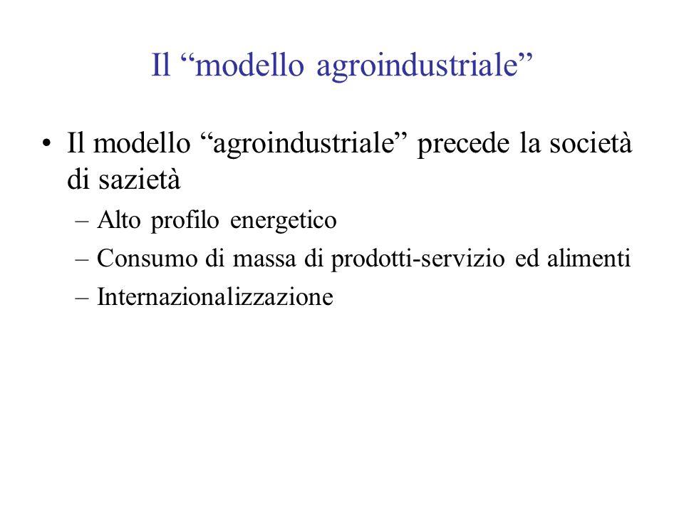 Il modello agroindustriale Il modello agroindustriale precede la società di sazietà –Alto profilo energetico –Consumo di massa di prodotti-servizio ed