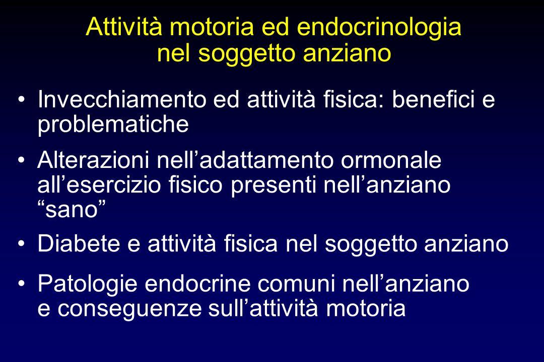 Attività motoria ed endocrinologia nel soggetto anziano Alterazioni nelladattamento ormonale allesercizio fisico presenti nellanziano sano Diabete e a