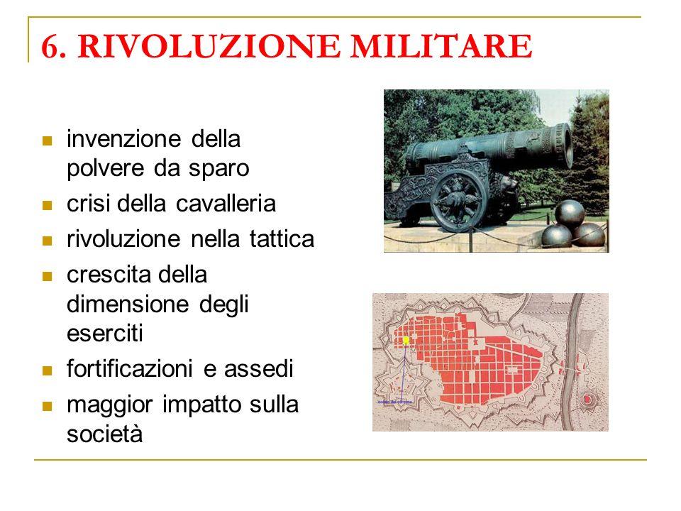 6. RIVOLUZIONE MILITARE invenzione della polvere da sparo crisi della cavalleria rivoluzione nella tattica crescita della dimensione degli eserciti fo