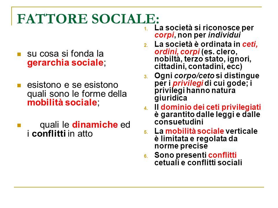 FATTORE SOCIALE: su cosa si fonda la gerarchia sociale; esistono e se esistono quali sono le forme della mobilità sociale; quali le dinamiche ed i con