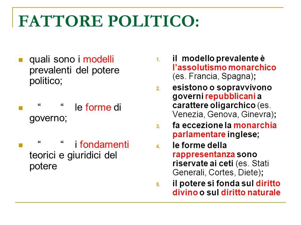 FATTORE POLITICO: quali sono i modelli prevalenti del potere politico; le forme di governo; i fondamenti teorici e giuridici del potere 1. il modello