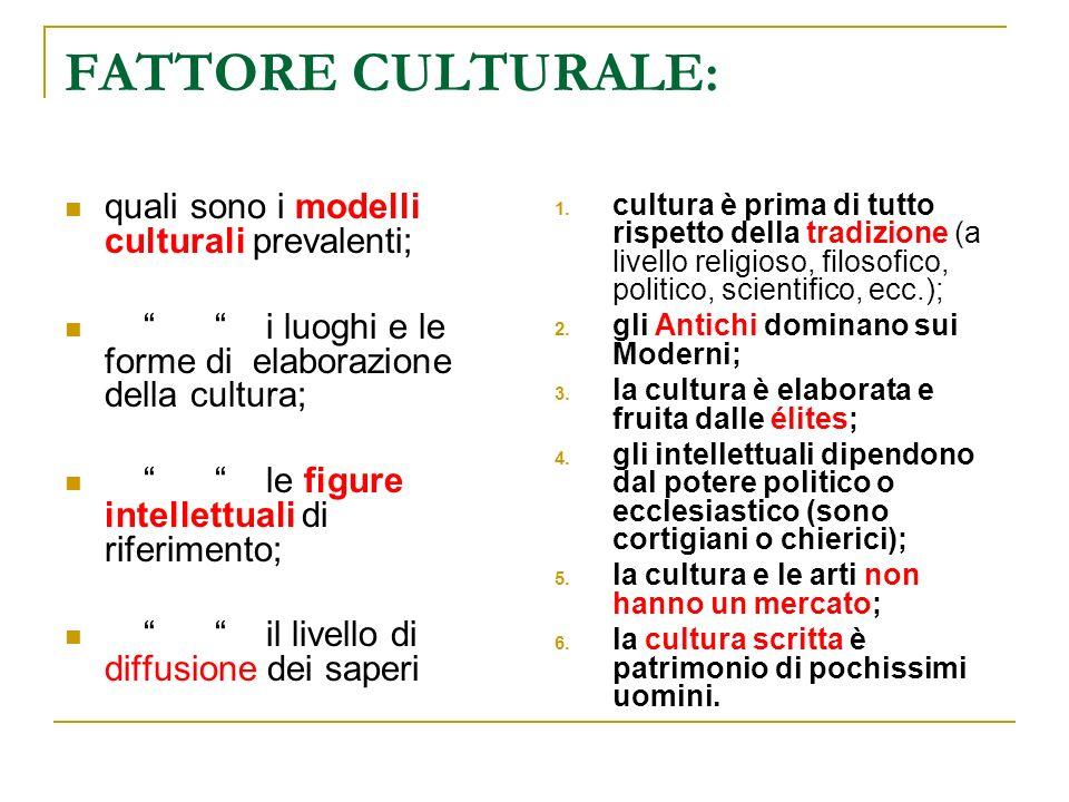 FATTORE CULTURALE: quali sono i modelli culturali prevalenti; i luoghi e le forme di elaborazione della cultura; le figure intellettuali di riferiment