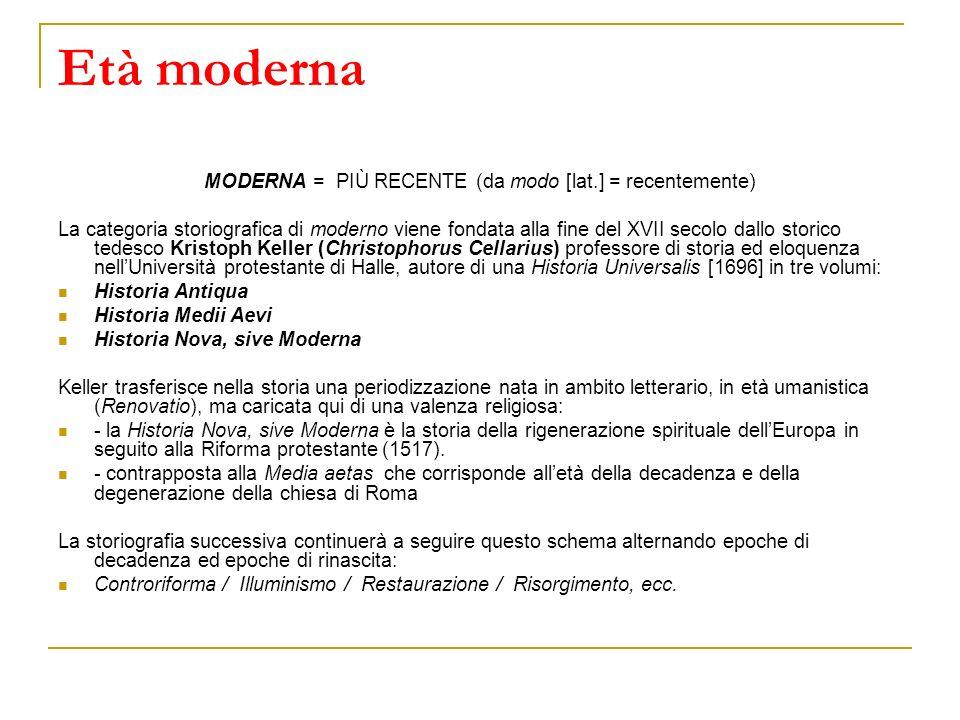 Età moderna MODERNA = PIÙ RECENTE (da modo [lat.] = recentemente) La categoria storiografica di moderno viene fondata alla fine del XVII secolo dallo