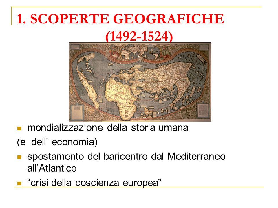 1. SCOPERTE GEOGRAFICHE (1492-1524) mondializzazione della storia umana (e dell economia) spostamento del baricentro dal Mediterraneo allAtlantico cri