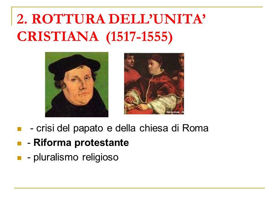 2. ROTTURA DELLUNITA CRISTIANA (1517-1555) - crisi del papato e della chiesa di Roma - Riforma protestante - pluralismo religioso