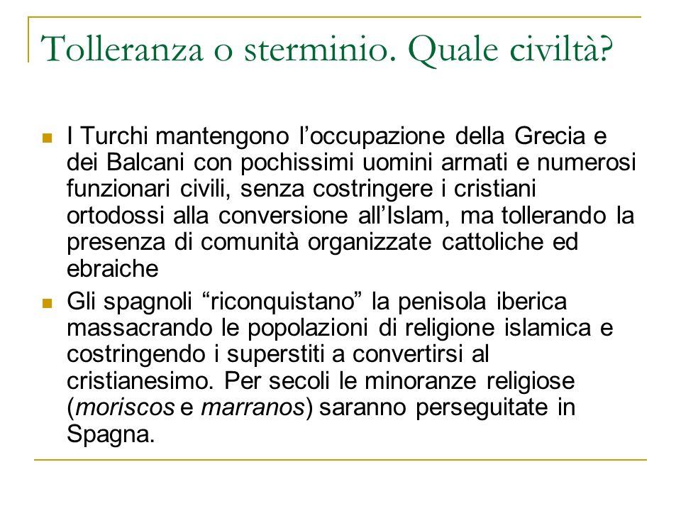 Guerre di religione o tolleranza religiosa.