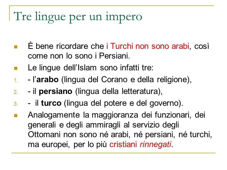 Tre lingue per un impero È bene ricordare che i Turchi non sono arabi, così come non lo sono i Persiani. Le lingue dellIslam sono infatti tre: 1. - la