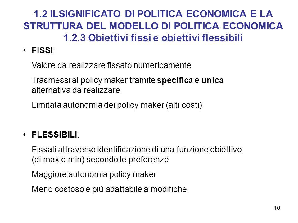 10 FISSI: Valore da realizzare fissato numericamente Trasmessi al policy maker tramite specifica e unica alternativa da realizzare Limitata autonomia