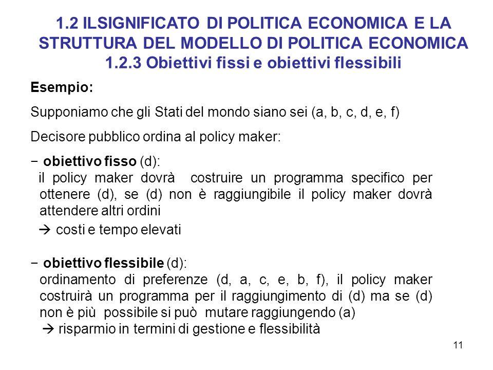 11 Esempio: Supponiamo che gli Stati del mondo siano sei (a, b, c, d, e, f) Decisore pubblico ordina al policy maker: obiettivo fisso (d): il policy m