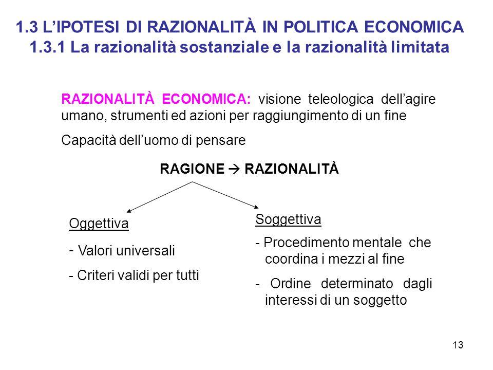13 1.3 LIPOTESI DI RAZIONALITÀ IN POLITICA ECONOMICA 1.3.1 La razionalità sostanziale e la razionalità limitata RAZIONALITÀ ECONOMICA: visione teleolo