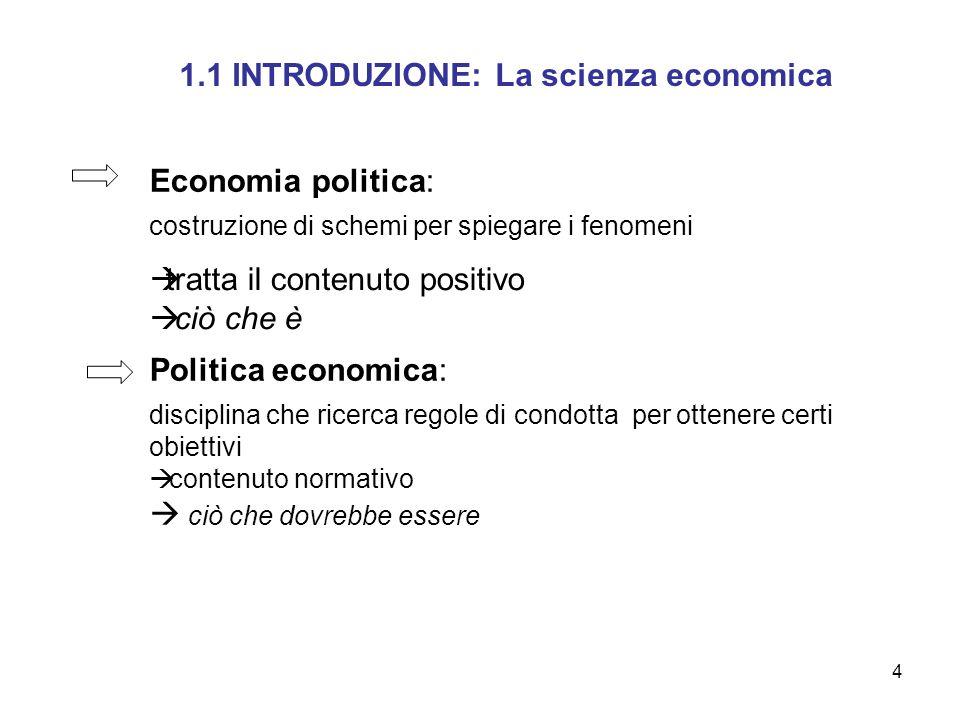 4 1.1 INTRODUZIONE: La scienza economica Politica economica: disciplina che ricerca regole di condotta per ottenere certi obiettivi contenuto normativ