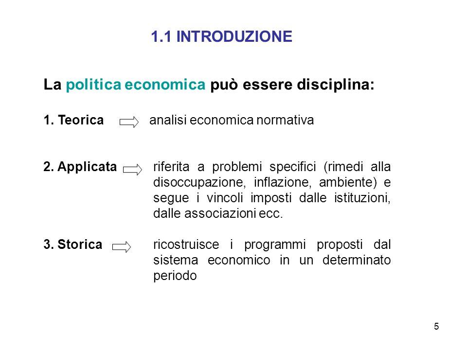 5 1.1 INTRODUZIONE La politica economica può essere disciplina: 1. Teorica analisi economica normativa 2. Applicata riferita a problemi specifici (rim