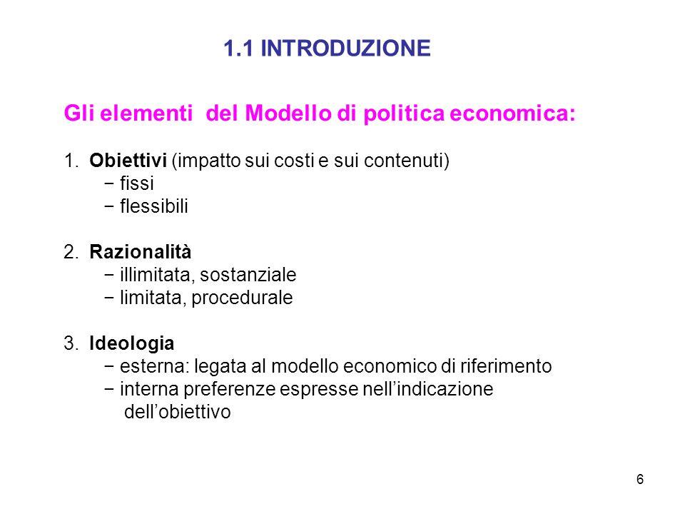 6 1.1 INTRODUZIONE Gli elementi del Modello di politica economica: 1. Obiettivi (impatto sui costi e sui contenuti) fissi flessibili 2. Razionalità il