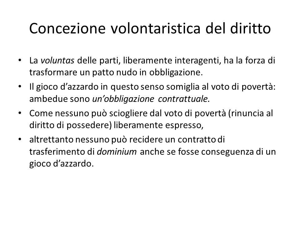 Concezione volontaristica del diritto La voluntas delle parti, liberamente interagenti, ha la forza di trasformare un patto nudo in obbligazione. Il g
