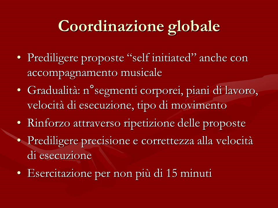Coordinazione globale Prediligere proposte self initiated anche con accompagnamento musicalePrediligere proposte self initiated anche con accompagname
