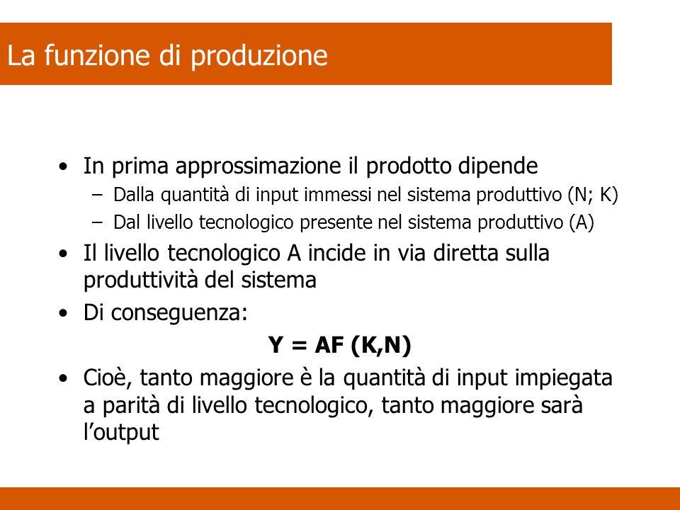 La funzione di produzione In prima approssimazione il prodotto dipende –Dalla quantità di input immessi nel sistema produttivo (N; K) –Dal livello tecnologico presente nel sistema produttivo (A) Il livello tecnologico A incide in via diretta sulla produttività del sistema Di conseguenza: Y = AF (K,N) Cioè, tanto maggiore è la quantità di input impiegata a parità di livello tecnologico, tanto maggiore sarà loutput