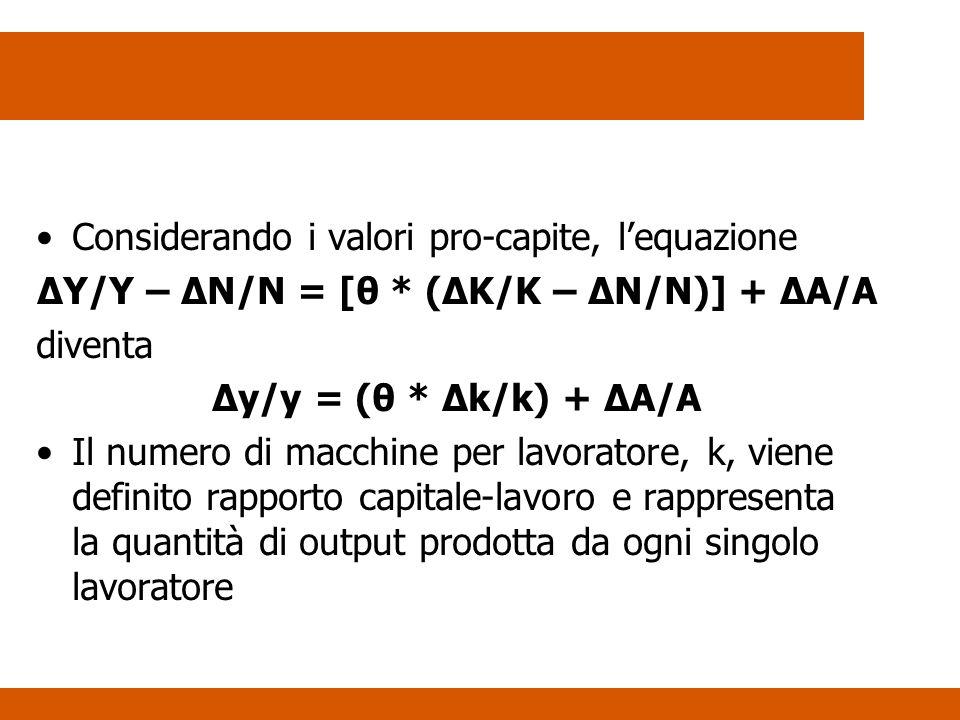 Considerando i valori pro-capite, lequazione ΔY/Y – ΔN/N = [θ * (ΔK/K – ΔN/N)] + ΔA/A diventa Δy/y = (θ * Δk/k) + ΔA/A Il numero di macchine per lavoratore, k, viene definito rapporto capitale-lavoro e rappresenta la quantità di output prodotta da ogni singolo lavoratore