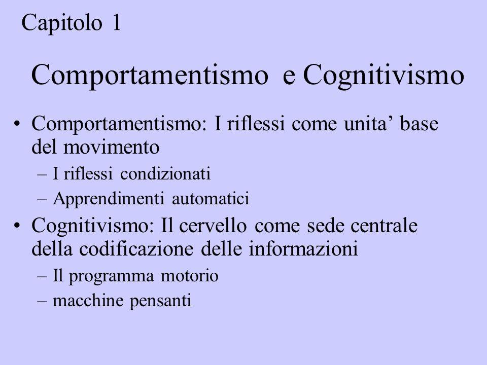 Comportamentismo e Cognitivismo Comportamentismo: I riflessi come unita base del movimento –I riflessi condizionati –Apprendimenti automatici Cognitivismo: Il cervello come sede centrale della codificazione delle informazioni –Il programma motorio –macchine pensanti Capitolo 1