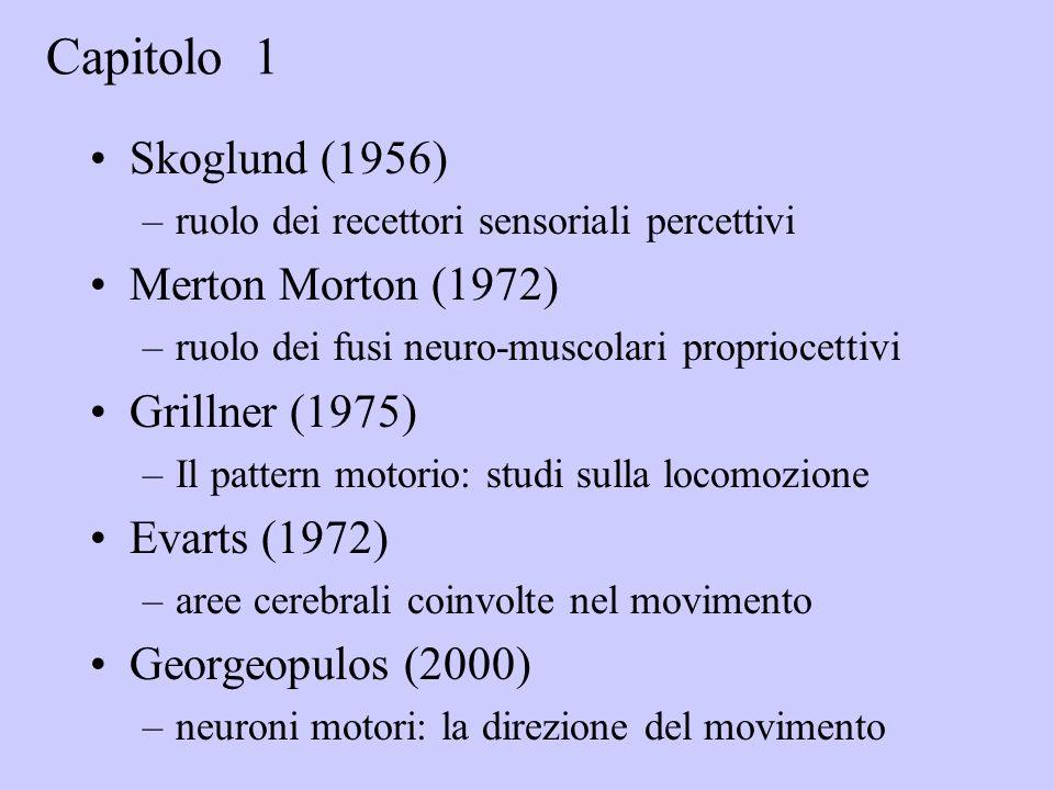Skoglund (1956) –ruolo dei recettori sensoriali percettivi Merton Morton (1972) –ruolo dei fusi neuro-muscolari propriocettivi Grillner (1975) –Il pattern motorio: studi sulla locomozione Evarts (1972) –aree cerebrali coinvolte nel movimento Georgeopulos (2000) –neuroni motori: la direzione del movimento Capitolo 1