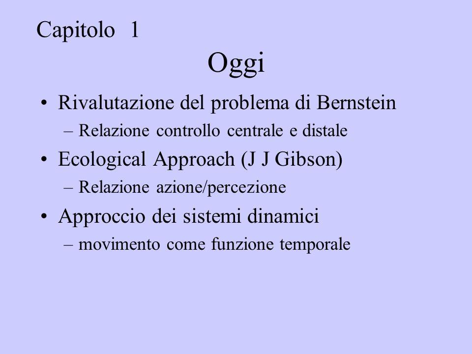 Oggi Rivalutazione del problema di Bernstein –Relazione controllo centrale e distale Ecological Approach (J J Gibson) –Relazione azione/percezione Approccio dei sistemi dinamici –movimento come funzione temporale Capitolo 1
