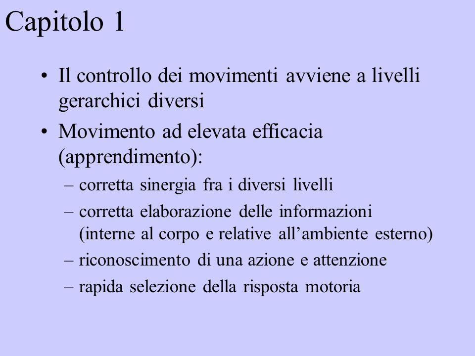Capitolo 1 Il controllo dei movimenti avviene a livelli gerarchici diversi Movimento ad elevata efficacia (apprendimento): –corretta sinergia fra i diversi livelli –corretta elaborazione delle informazioni (interne al corpo e relative allambiente esterno) –riconoscimento di una azione e attenzione –rapida selezione della risposta motoria