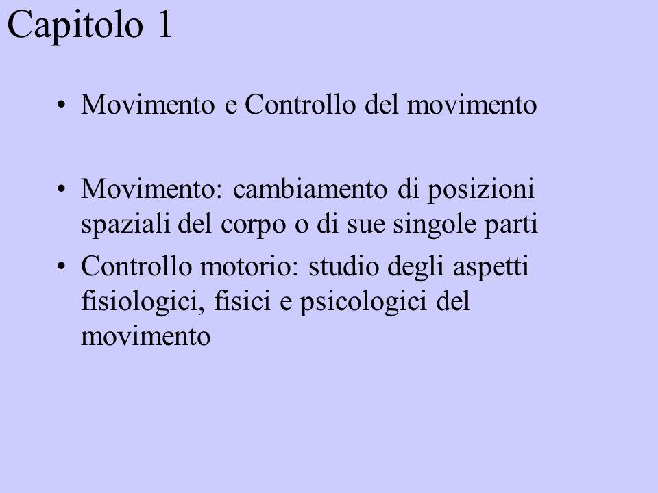 Capitolo 1 Movimento e Controllo del movimento Movimento: cambiamento di posizioni spaziali del corpo o di sue singole parti Controllo motorio: studio degli aspetti fisiologici, fisici e psicologici del movimento