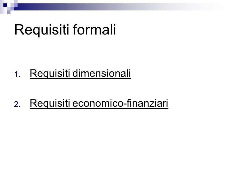 Requisiti formali 1. Requisiti dimensionali 2. Requisiti economico-finanziari