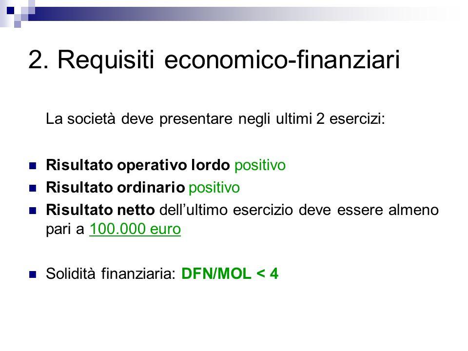 2. Requisiti economico-finanziari La società deve presentare negli ultimi 2 esercizi: Risultato operativo lordo positivo Risultato ordinario positivo