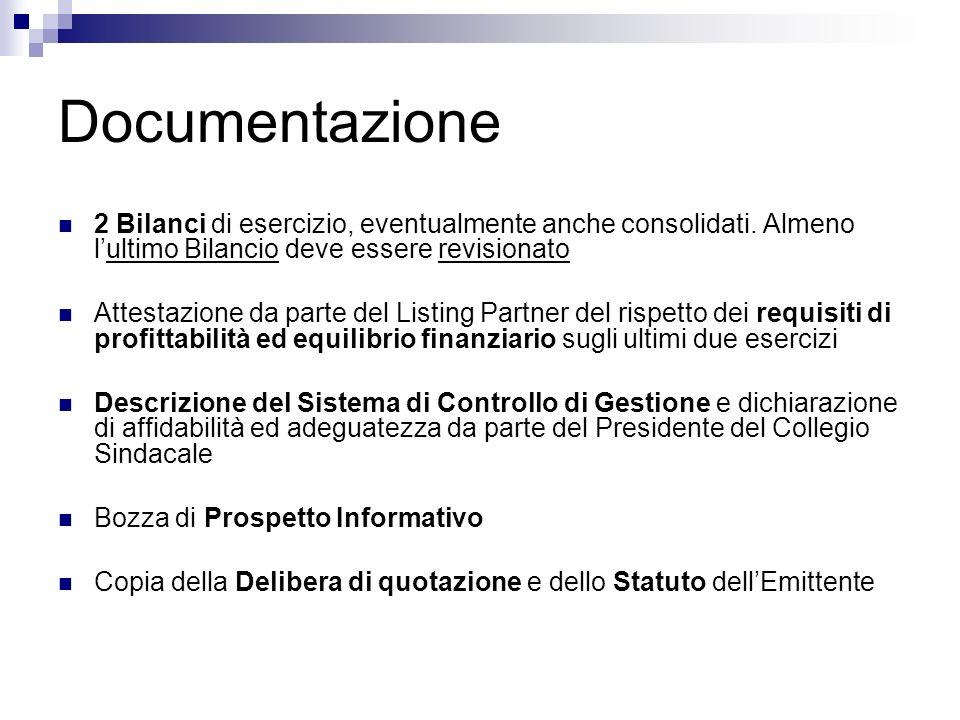 Documentazione 2 Bilanci di esercizio, eventualmente anche consolidati. Almeno lultimo Bilancio deve essere revisionato Attestazione da parte del List
