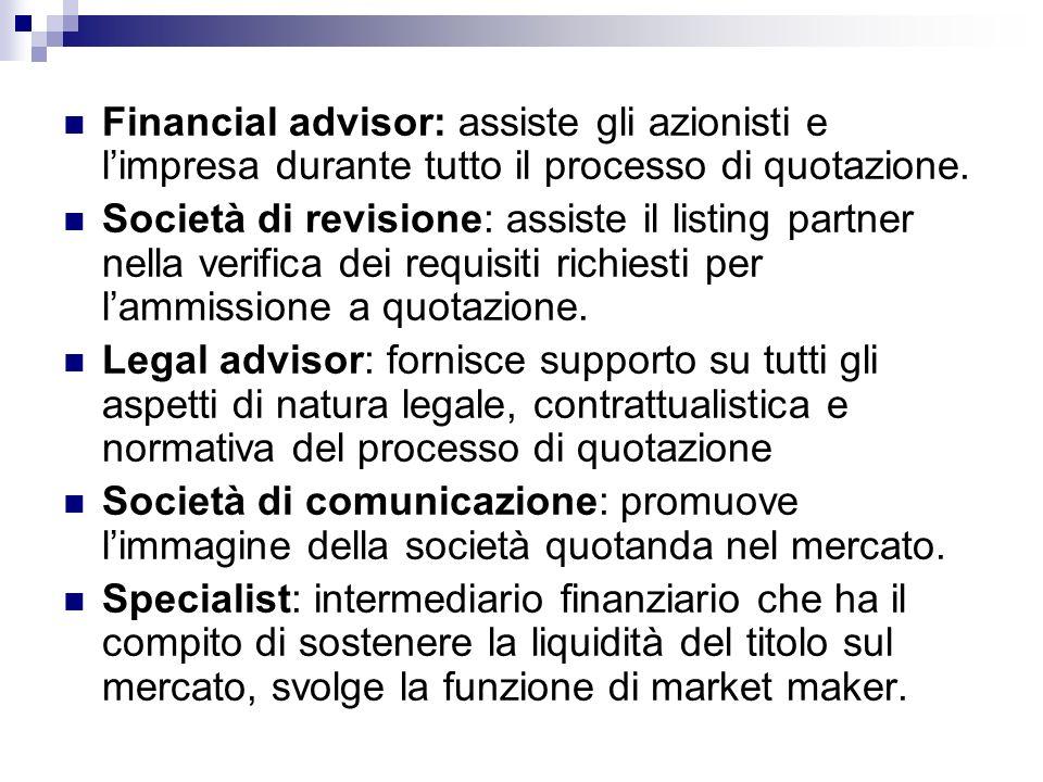 Financial advisor: assiste gli azionisti e limpresa durante tutto il processo di quotazione. Società di revisione: assiste il listing partner nella ve