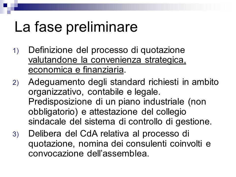 La fase preliminare 1) Definizione del processo di quotazione valutandone la convenienza strategica, economica e finanziaria. 2) Adeguamento degli sta
