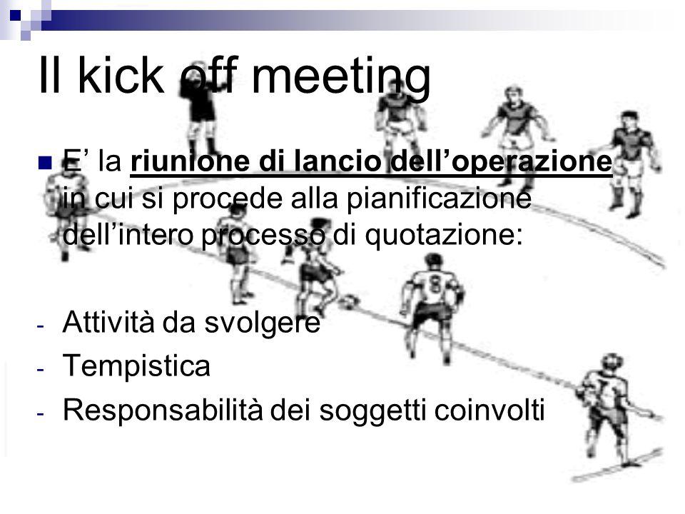 Il kick off meeting E la riunione di lancio delloperazione in cui si procede alla pianificazione dellintero processo di quotazione: - Attività da svol