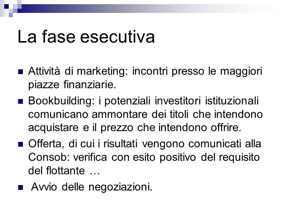La fase esecutiva Attività di marketing: incontri presso le maggiori piazze finanziarie. Bookbuilding: i potenziali investitori istituzionali comunica