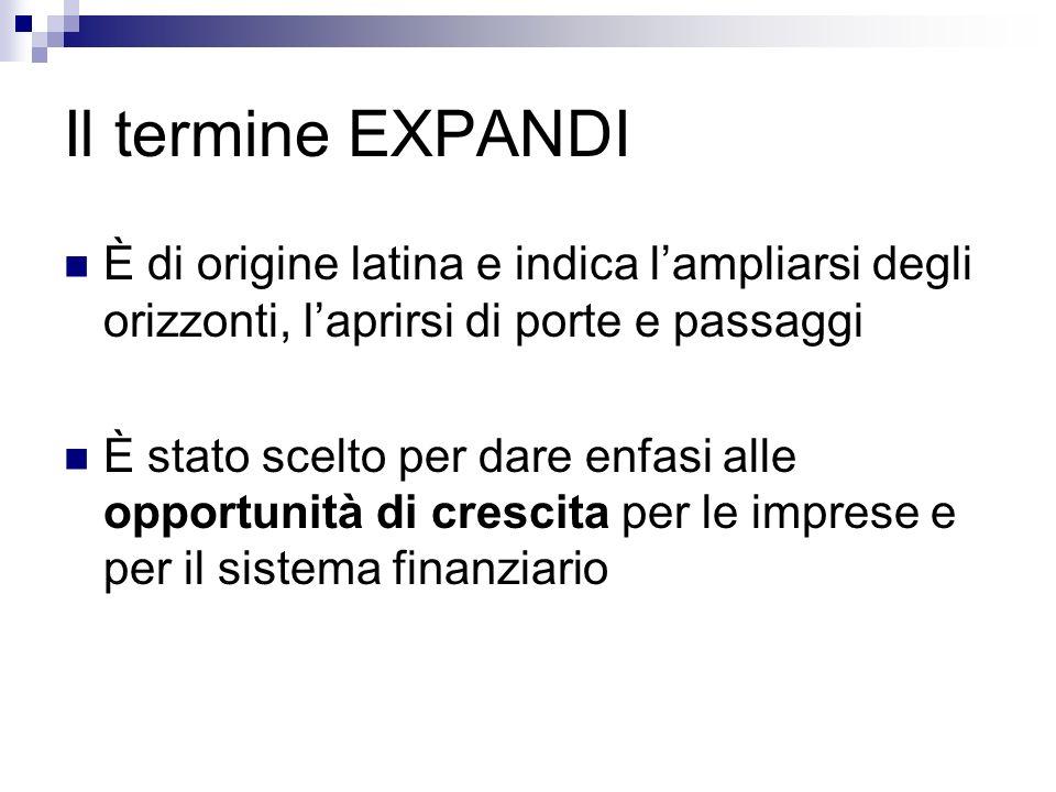 Il termine EXPANDI È di origine latina e indica lampliarsi degli orizzonti, laprirsi di porte e passaggi È stato scelto per dare enfasi alle opportuni