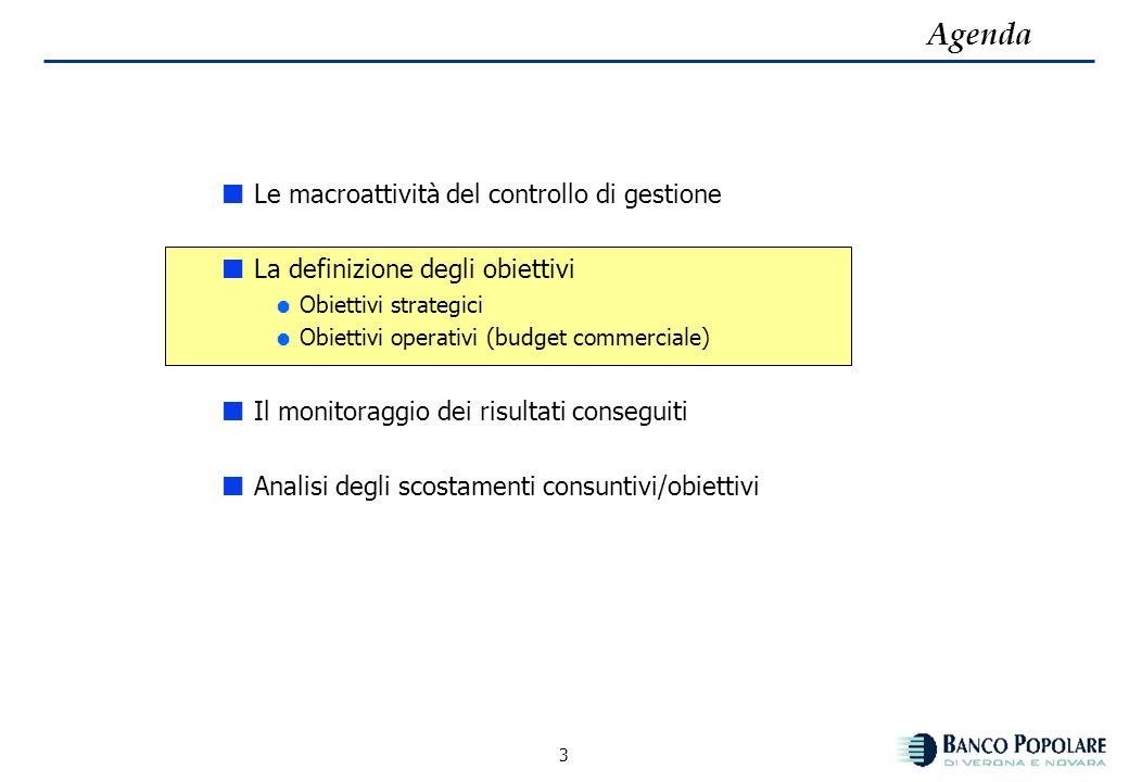 2 Le macroattività del controllo di gestione Le macro attività della funzione Pianificazione e Controllo di Gestione sono le seguenti: definire gli ob