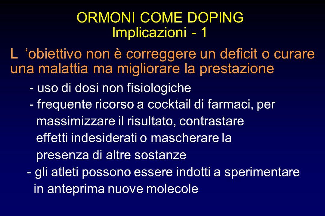 ORMONI COME DOPING Implicazioni - 1 Lobiettivo non è correggere un deficit o curare una malattia ma migliorare la prestazione - uso di dosi non fisiol